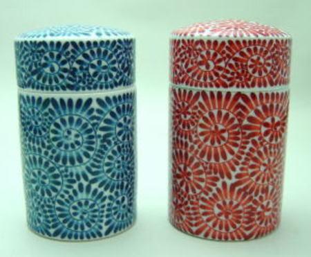 【茶筒】 有田焼き 陶器 100g用