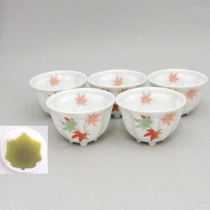 【煎茶碗 湯のみ(湯呑み・湯飲み)汲出し(汲み出し)】 紅葉煎茶茶碗 足付紅葉型 5客組