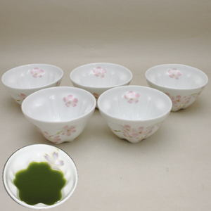 【煎茶碗 湯のみ・汲出し(湯呑み・湯飲み/汲み出し)】 桜煎茶茶碗 桜型 5客組