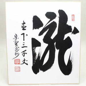 【茶器/茶道具 色紙/夏】 直筆 瀧直下三千丈 長谷川寛州筆