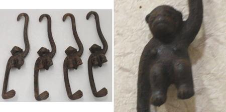 製造中止【茶道具 軸用掛物】 自在掛け金具 猿形 吊るし用 鉄製(やや錆有り) 1本×4本(1本長:21cm)